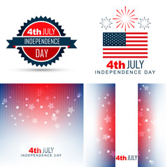simple set of american independence day background illustration