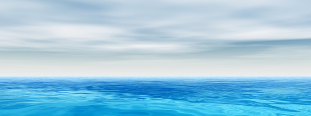 Blue sea or ocean water with sky banner