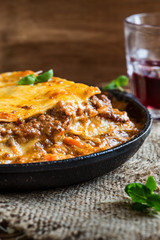 Traditional Italian lasagna cooked in a frying pan