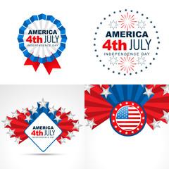 set of american flag design badge illustration