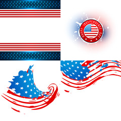 vector collection of  american flag illustration