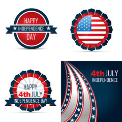 set of american independence day background illustration
