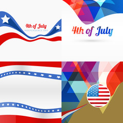 stylish set of american independence day background