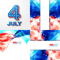 creative set of american independence day background