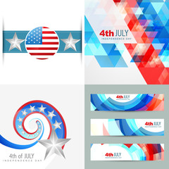 collection of creative american independence day background illu