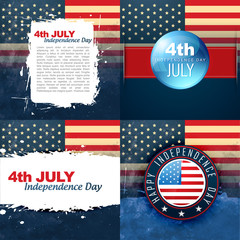 set of american flag design illustration