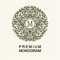 Stylish and graceful floral monogram  , line art logo design
