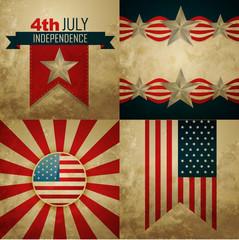 set of american independence day background illustration