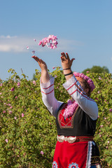Girl posing during the Rose picking festival in Bulgaria