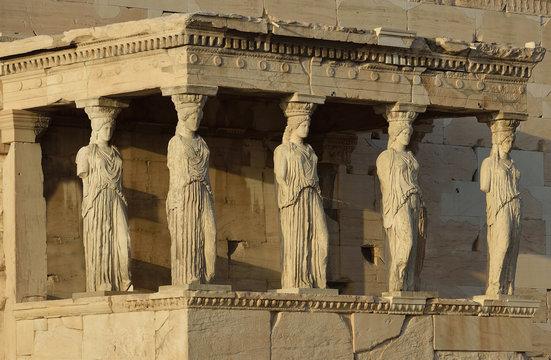 Caryatides, Erechteion, Parthenon on the Acropolis in Athens, Greece