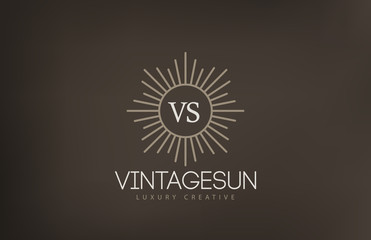 Vintage Sun Logo design vector template...Retro Circle with Rays