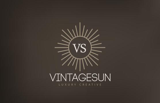 Vintage Sun Logo design vector template...Retro Circle with Rays