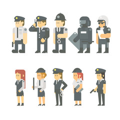 Flat design of police set