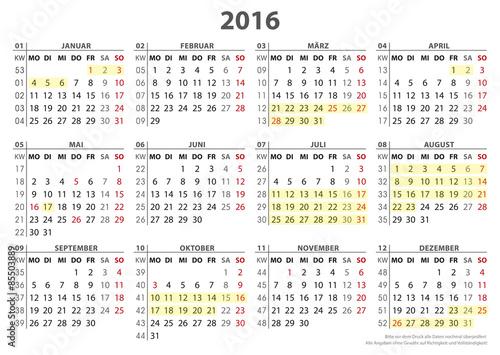 Kalendervorlage 2016, 16 BL in