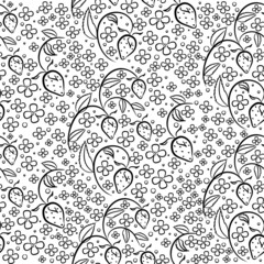 Vector seamless pattern in black and white colors with strawberries