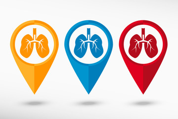 Lung icon map pointer, vector illustration