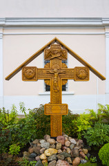 Wooden cross with Jesus Christ at the church of St. Panteleimon, Tver, Russia