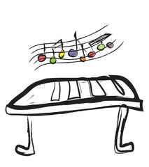 illustration of musical keyboard and musical notes
