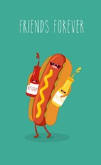 Hot dog, mustard and ketchup. Vector cartoon. Fast food. Friends forever.