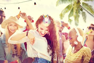Friendship Dancing Bonding Beach Happiness Joyful Concept