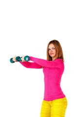Sportswoman doing swings with dumbbells.