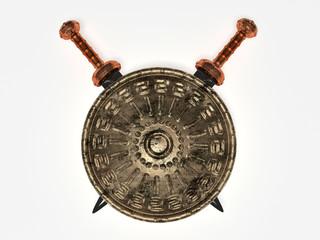 Spartan shield and swords
