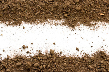 Dirty earth on white background. Natural soil texture Wall mural