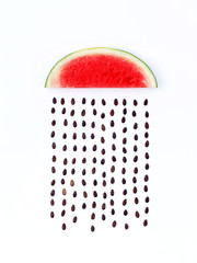 weather concept, watermelon shape of rainy season. part of a wea