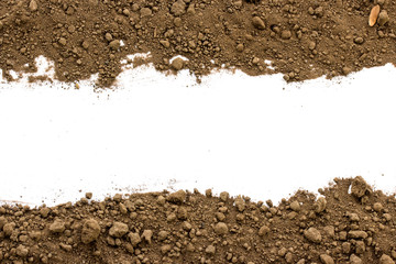 Fototapeta Dirty earth on white background. Natural soil texture obraz