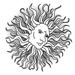 Sun with faces stylized engravings of the Renaissance