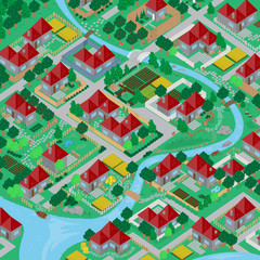 3D Village, Very Detailed - Vector Illustration, Graphic Design, Editable For Your Design