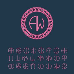 Set  template letters to create monograms of two letters