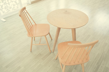 wooden chair, table in a room with filter effect retro vintage style