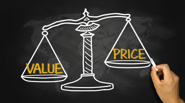 value price concept on balance scale