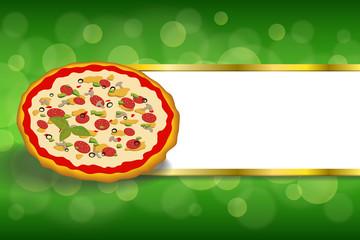 Background fast food pizza orange green red stripes gold frame