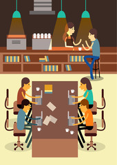 Co-working Space. Creativity communication. flat design elements. vector
