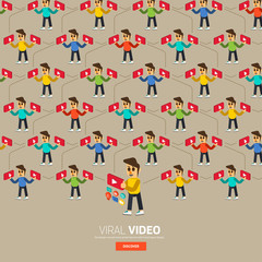 Video content marketing.Flat design concept for make momey with video.3d isometric vector.