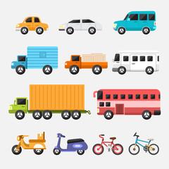 Car icon set concept transportation.Vector flat design