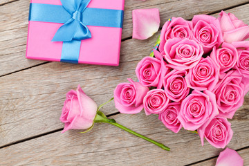 Valentines day with gift box full of pink roses