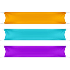 Orange, Turquoise and Purple Blank Empty Banners
