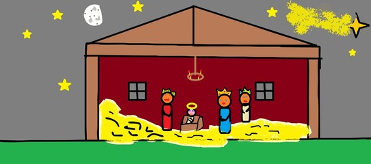 Christmas Nativity scenes (child's drawing on the computer).