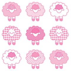 Baby Lambs, patchwork sheep, gingham, polka dots,  pastel pink
