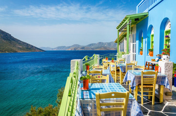 Typical Greek restaurant on the balcony, Greece
