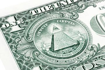 Stacked U.S. one (1) dollar bill in a macro shot, super macro, c