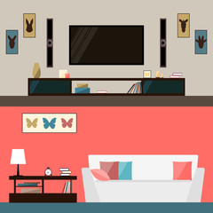 illustration in trendy flat style with room interior for design