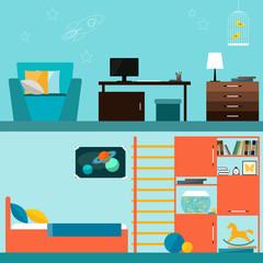 Bright orange and blue colored children room interior for design