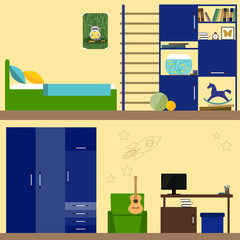 bright illustration in trendy flat style with children room interior