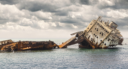 Acrylic Prints Shipwreck The sunken shipwreck on the reef.