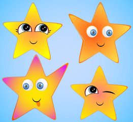 funny stars on a blue background