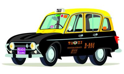 Caricatura Renault 4 colombia negro yamarillo vista frontal y lateral